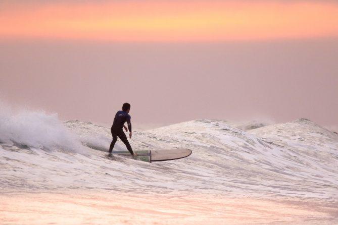 le surf au sunset