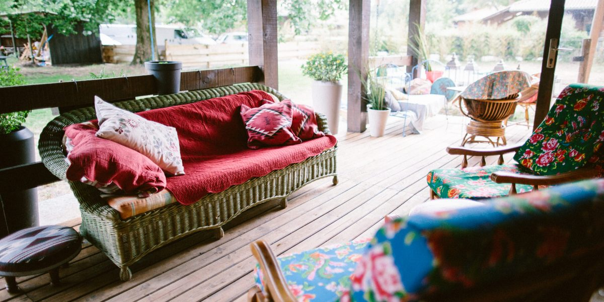 terrasse sud à coté des chambres familiales
